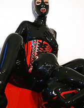 Horny lesbian hooded rubber dolls, pic #8