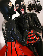 Horny lesbian hooded rubber dolls, pic #10