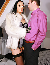 Gloved Lady loves to fuck in fur, pic #2
