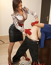 Mistress Ella Kross Makes Her Slave Take a Strap-On!, pic #12