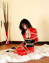 Red latex catsuit and ropes, pic #1