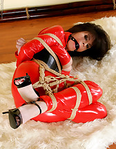 Red latex catsuit and ropes, pic #7