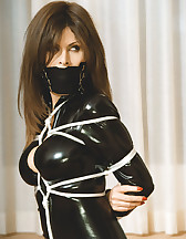 Latex model tied and gagged, pic #2