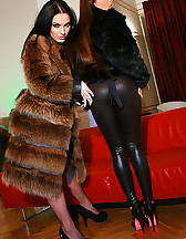 Classy ladies play in real furs, pic #6