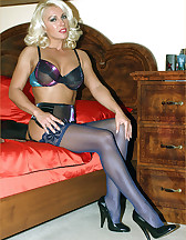 Silky purple nylons, pic #1