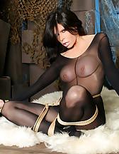 Nylon bodysuit and bondage, pic #2