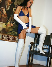 Sexy in blue and white leather, pic #8