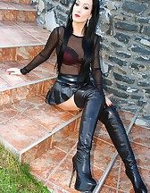 Short leather skirt tease outdoors, pic #13