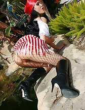 Naughty pirate girl outdoors, pic #14
