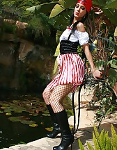 Naughty pirate girl outdoors, pic #5