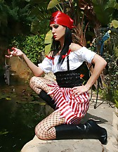 Naughty pirate girl outdoors, pic #6