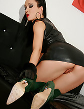 Horny in green leather boots, pic #11