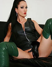 Horny in green leather boots, pic #14
