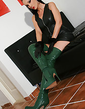 Horny in green leather boots, pic #6